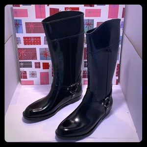 NWOT Corkys Women Rain Black Rubber Boots.Size: 11